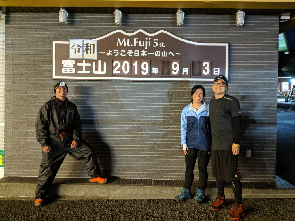 Hiking Japan: Fujisan - Group picture in front of date at the Fuji-Subaru Line 5th Station