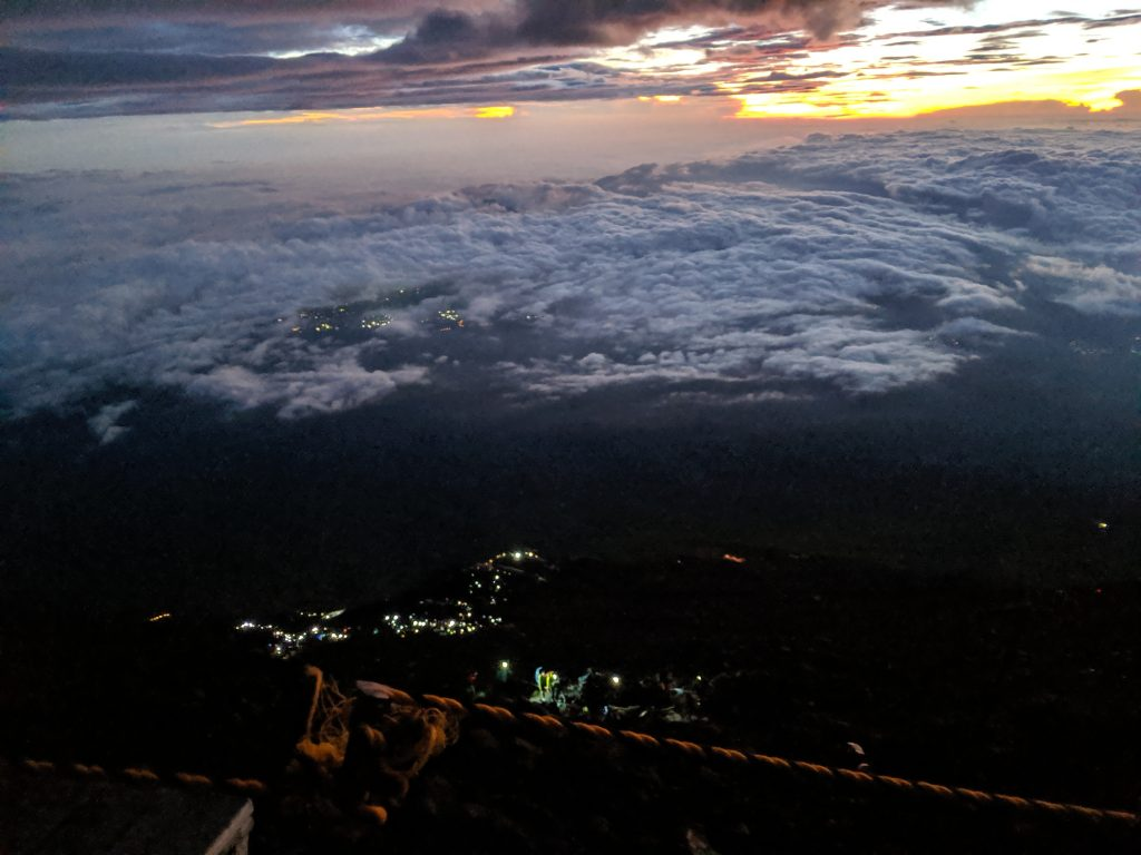 Hiking Japan: Fujisan - Looking down from the summit before sunrise.