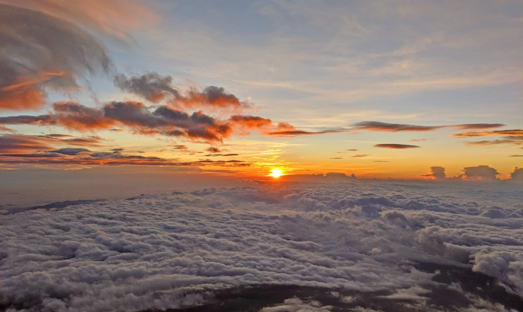 Beautiful sunrise on the top of Fujisan
