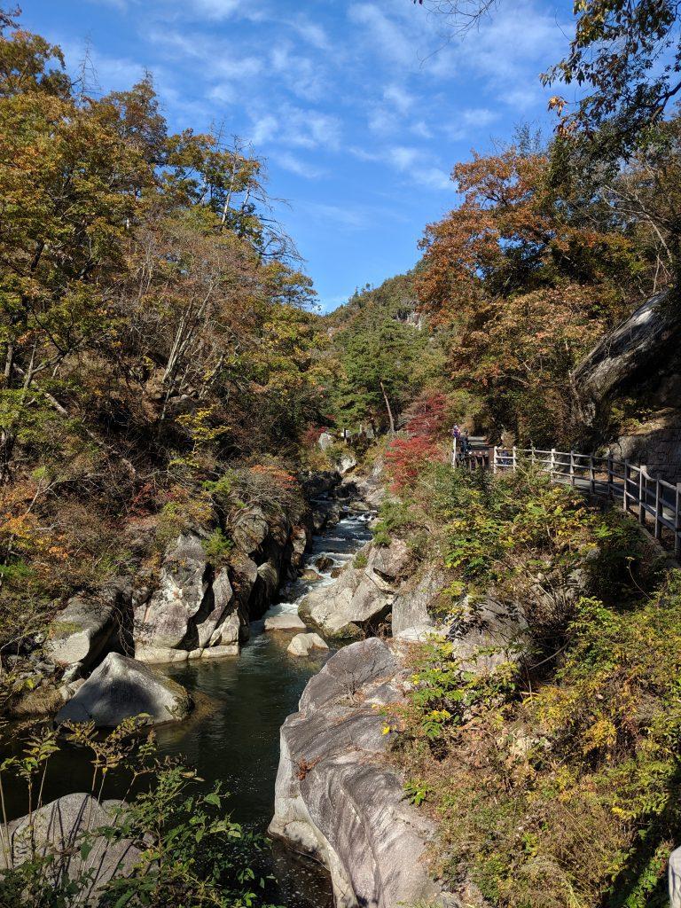 Arakawa river cutting through Shosenkyo Gorge