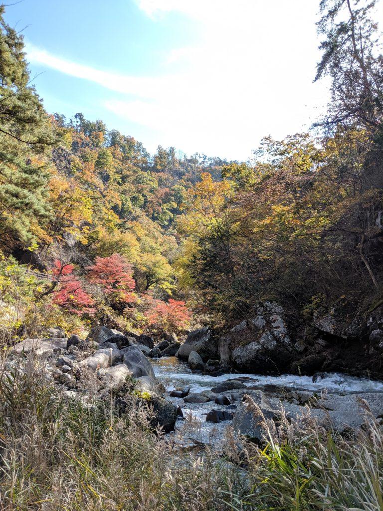 Another view of the Arakawa River cutting through Shosenkyo Gorge