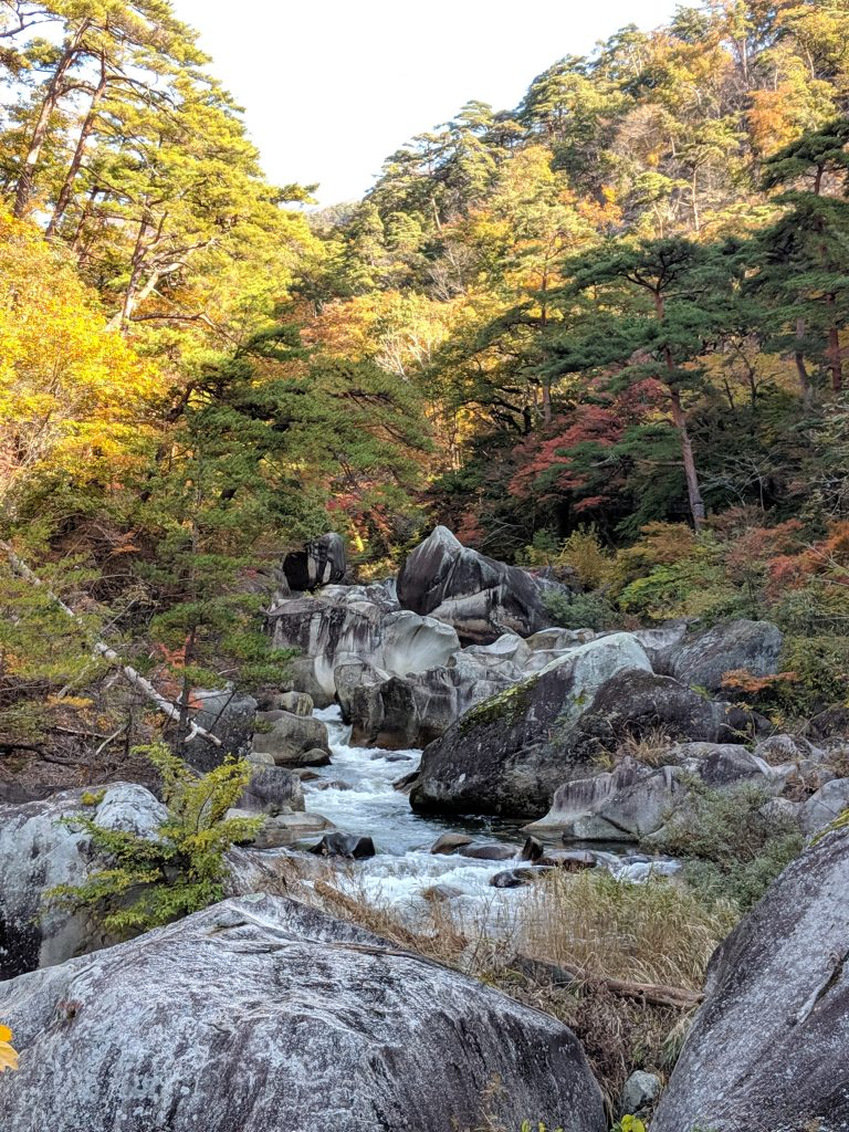 Another view of the lush scenery in Shosenkyo Gorge