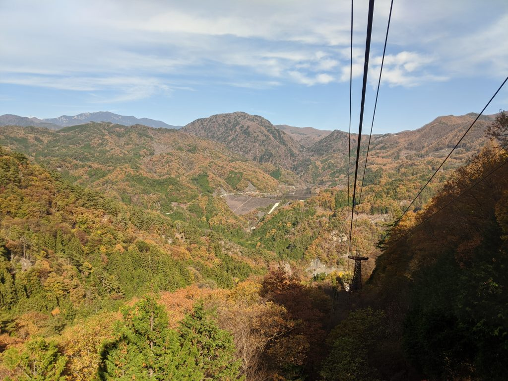 View going up Shosenkyo Ropeway